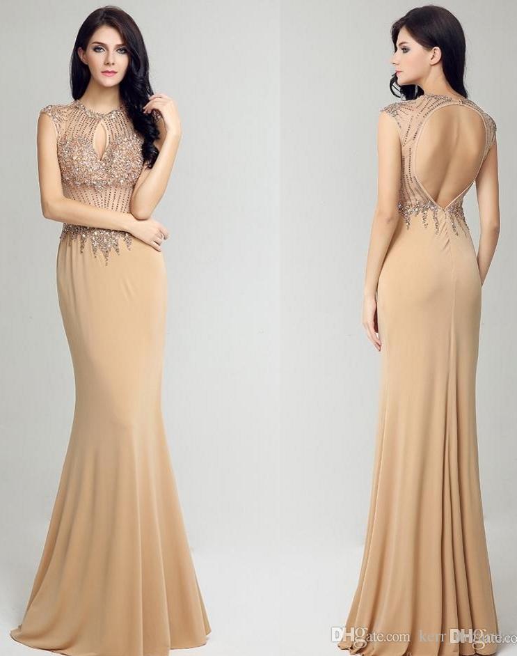Girocollo moda moderna di alta qualità Prom Dresses Champagne lungo di Tulle Halter grande mano-in rilievo Fishtail pannello esterno del partito dei vestiti da sera HY039