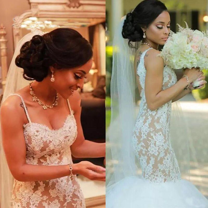 Vestidos africano boda de la sirena con el cordón Apliques de espalda tirantes de espagueti vestido de novia sin espalda barrer de tren vestidos de novia País