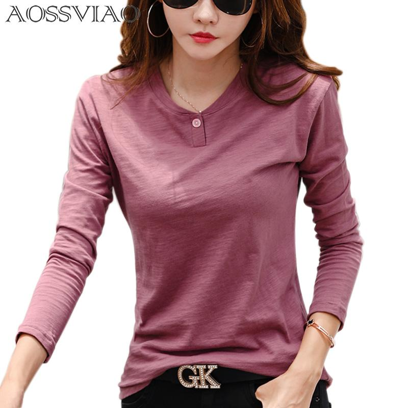 2019 Women Autumn And Winter Casual T-Shirt Fashion One Black Color 0 Neck T shirt Cotton Long Sleeve Tops Green Black White T200107