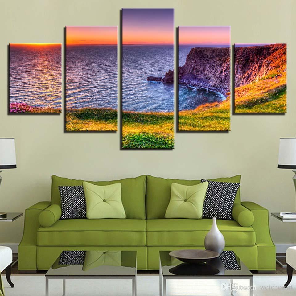 Wall Art Холст Живопись HD Печать Home Decor 5 шт Морского пейзаж Modular для гостиной Картина Artwork Креативного плаката