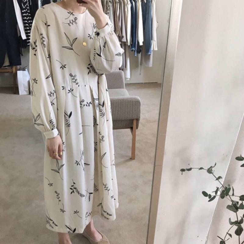 Women autumn Floral long Pleated Dress Long Sleeve high waist chiffon dresses round collar loose plus size MX200319
