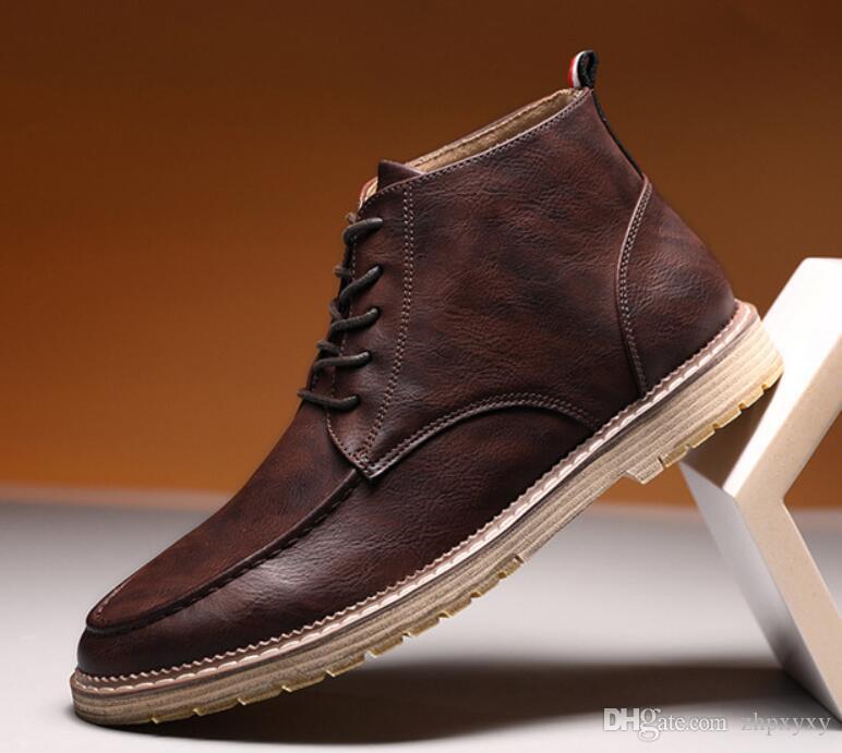 Männer echtes Leder-Boots Martens Lederschuhe kühlen Motorrad Männer Ankle Boots Herbst Männer Oxfords Schuhe Mann Arbeitsstiefel da045
