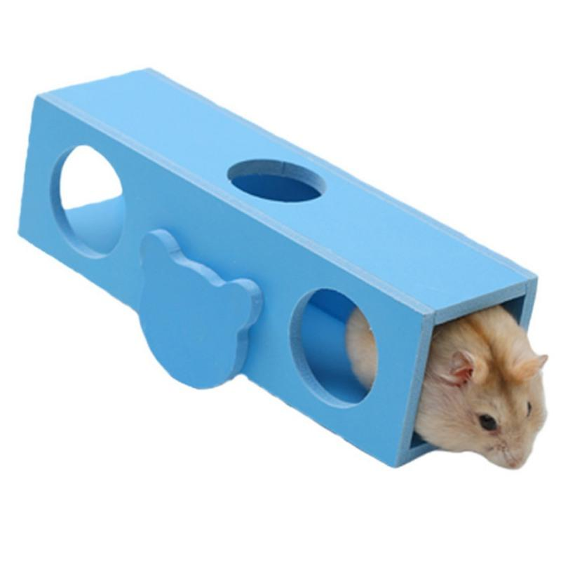 Toy Hamster Seesaw Barrel Toy Wooden Tunnel Tube Pet Toy Mouse Gerbil Climbing For Small Animal