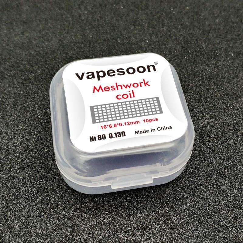 VapeSoon ağ örgüsü Bobin (10pcs / pack) 16 * 6.8mm Ni80 A1 M Bobin 0.13ohm Mesh Tel DIY Vaporizer Atomizer Mesh V2 RDA Kylin M RTA vb DHL için
