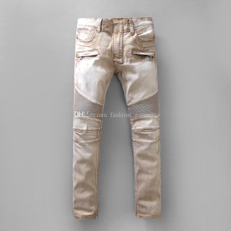 2019 Nueva Jeans para hombre Hip Hop desteñida Zipper Jeans casual rasgado retro Denim Pantalones Tamaño 29-42 Brown