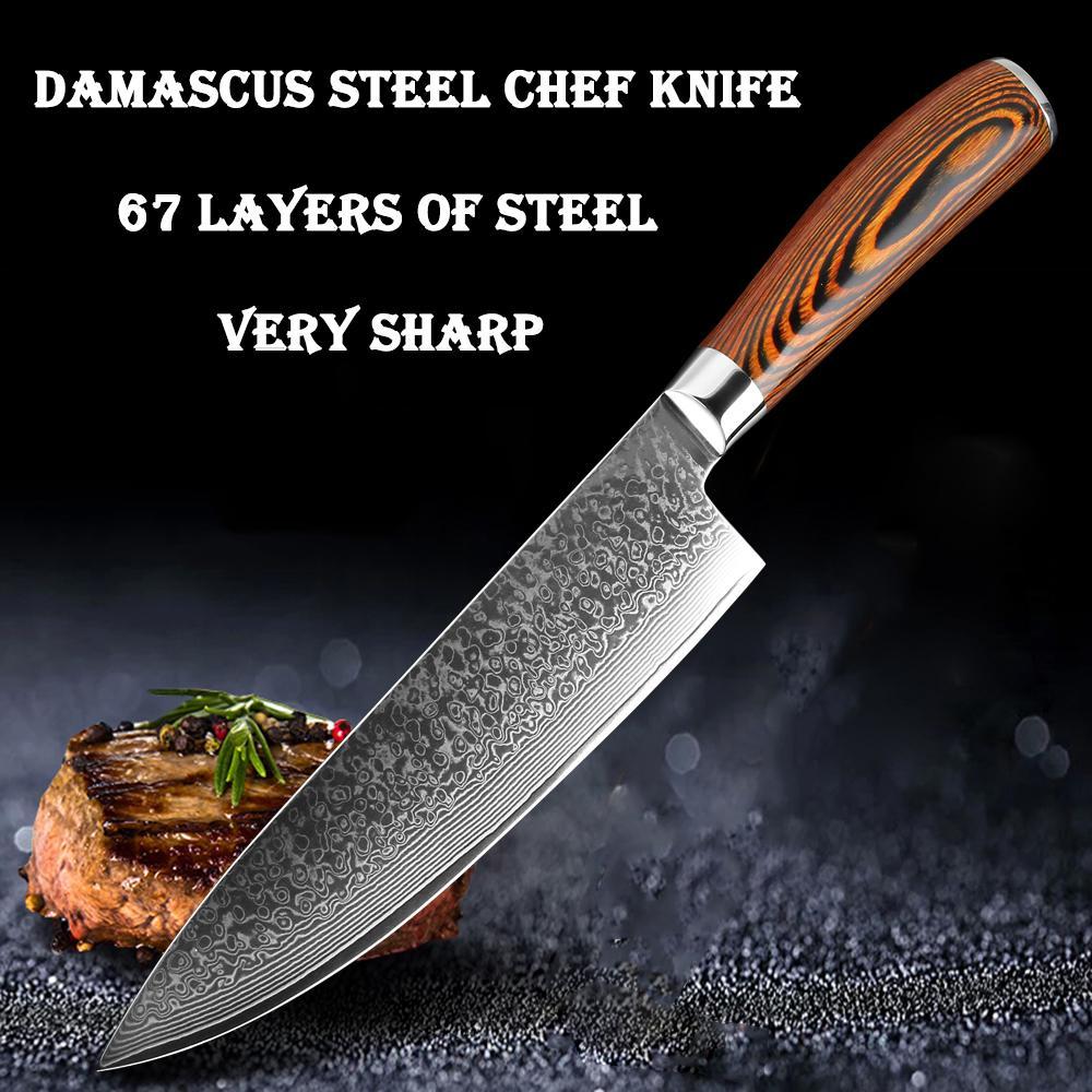 jetzt 8 Zoll Damaskus Küchenmesser schneiden Fleisch Scheiben schneiden Gemüse praktisch japanischen VG10 Kochmesser Damaszener-Stahl scharfen Messer Holzgriff