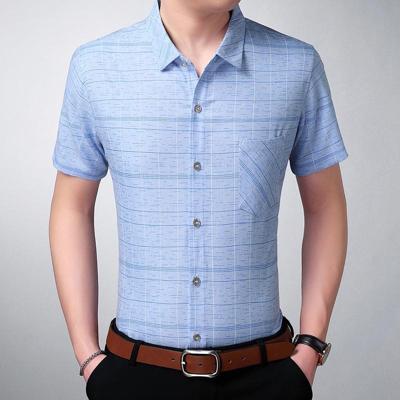 2020 nuova estate di marca degli uomini Plaid Shirt manica corta di alta qualità misura sottile casuale del Mens di modo Stilisti