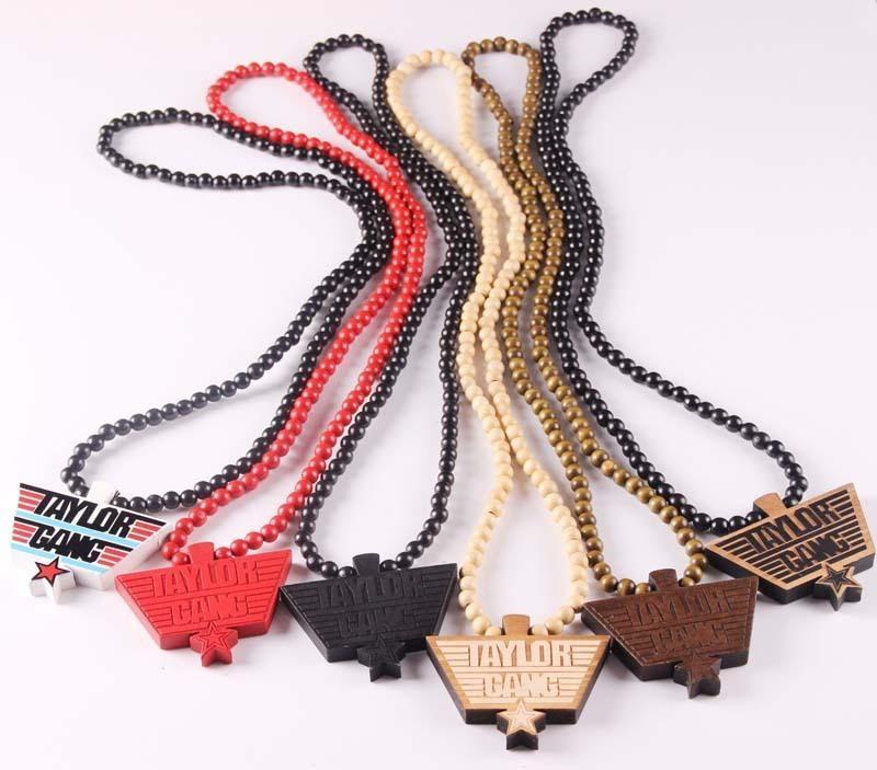 الأزياء الهيب البوب خشبية الخرز نحت قلادة مجوهرات تايلور قانغ قلادة الخرزة الخشب قلادة جيدة للرجال نساء مجوهرات C19011501
