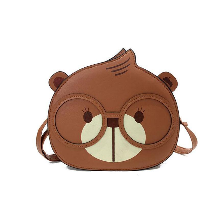 JIARUO Sevimli Kawaii Hayvan Ayı Kadınlar Deri Messenger çanta Bayanlar Omuz çantası Crossbody çanta gözlük