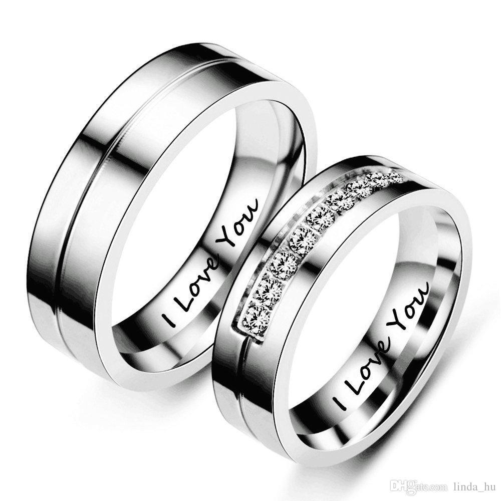 Подарок на День святого Валентина 1 шт простой сплав / Титановая сталь пара кольцо L люблю тебя для Моды мужчин и женщин обручальное кольцо обещание