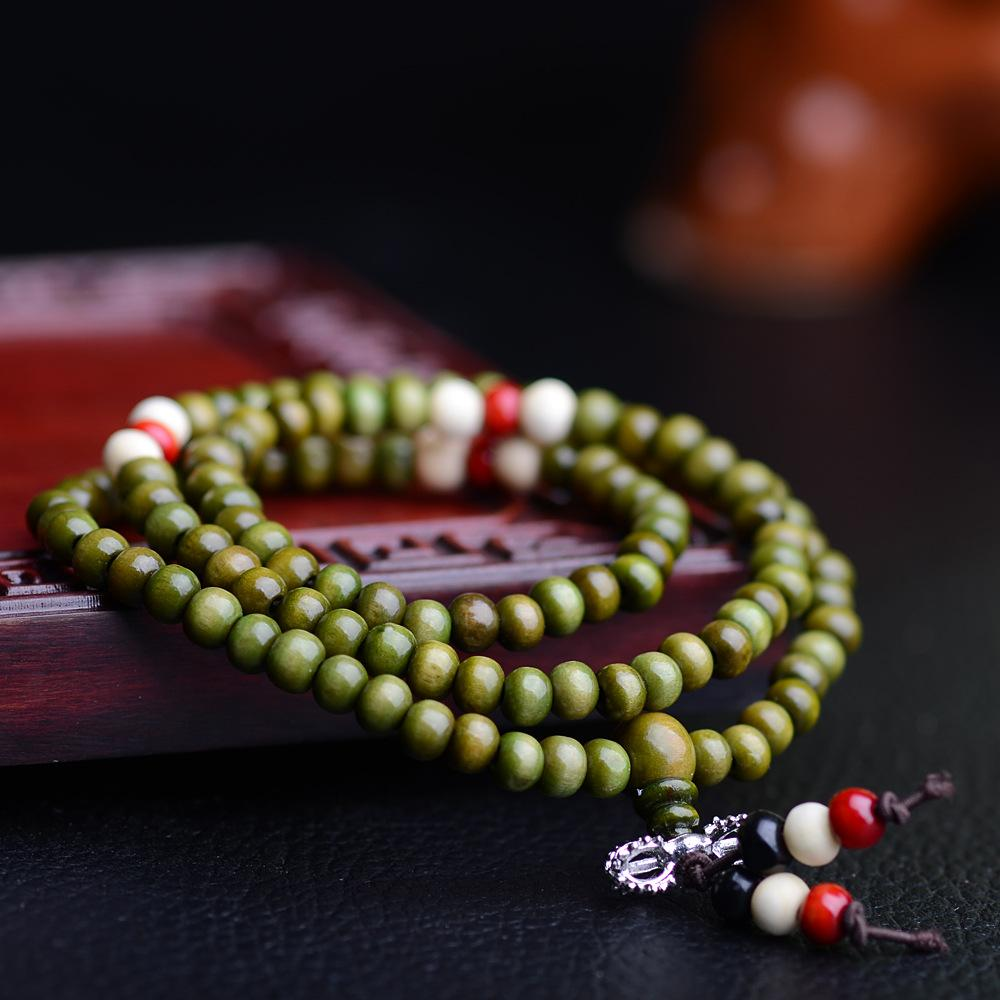 Al por mayor-108 * 0,6 Oración granos naturales budista tibetano pulseras Mala Buda collar del rosario de madera de la joyería NE644