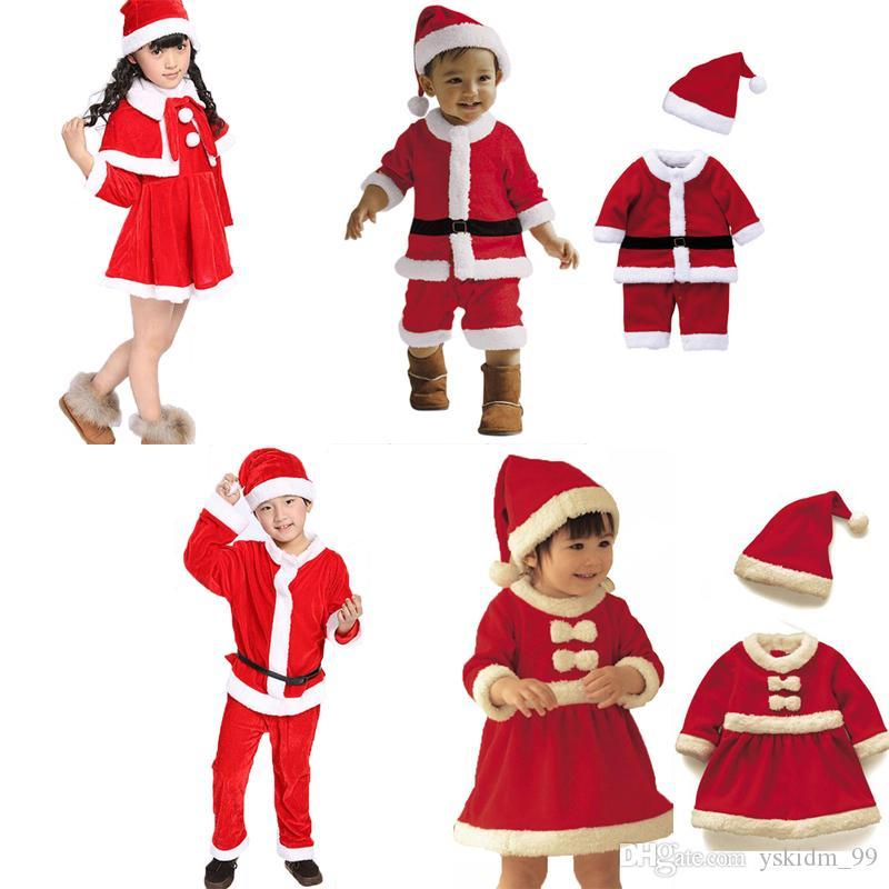 Младенческой новорожденных девочек рождественский наряд малыша Санта-Клаус костюм набор дети Рождество партии косплей платье со шляпой набор для девочек мальчиков