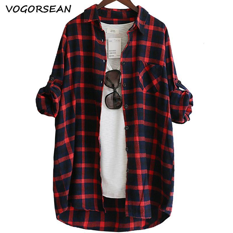 VogorSean Cotton Women Bluse Shirt Plaid 2019 Lose Lässige Plaid Langarm Große Größe Top Damen Blusen rot / grün