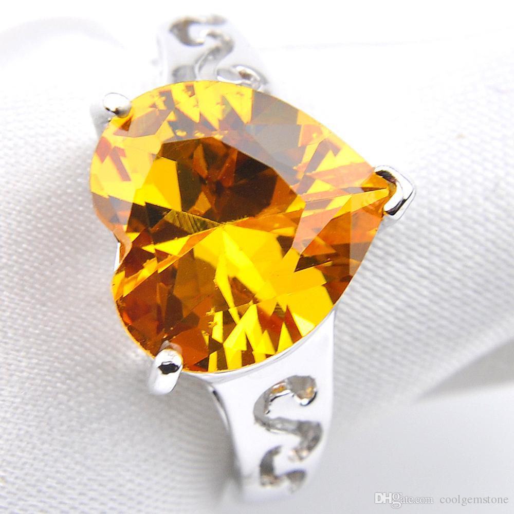 Luckyshine 6Pcs / Lot Gioielli da sposa Moda Romantico Cuore Giallo Zirconi cubici Gemme 925 Anelli argento Per donne Anello di fidanzamento Nuovo