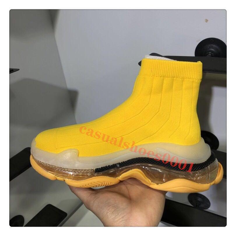 El diseñador de moda de las mujeres rosa calzado Triple S calcetín zapatos Slip-en los zapatos unisex amarillas hombres y de mujeres zapatillas de cristal inferior C01