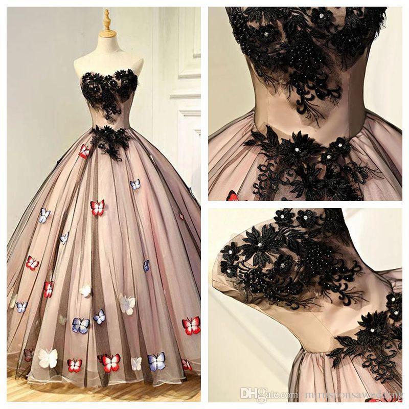 Prom2k19 Strapless Tulle vestido de baile borboleta Prom Dress com flores Handmade Applique Lace Pearls Long Black Vestido