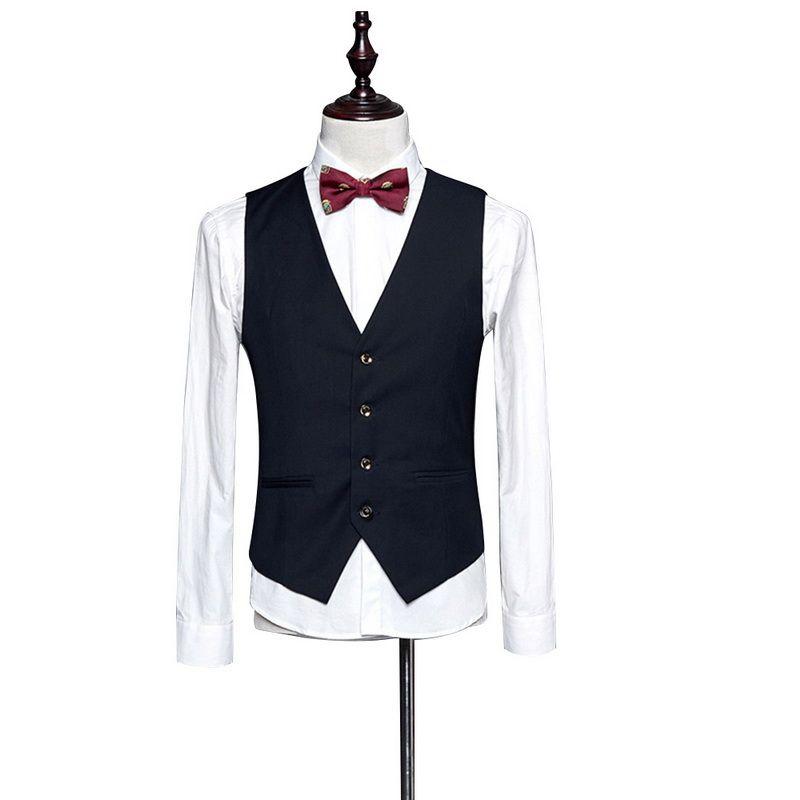 2019 Nueva vestido de chalecos para los hombres delgado para hombre Fit Traje Chaleco masculino Chaleco Chaleco Hombre ocasional sin mangas de la chaqueta de negocios formal