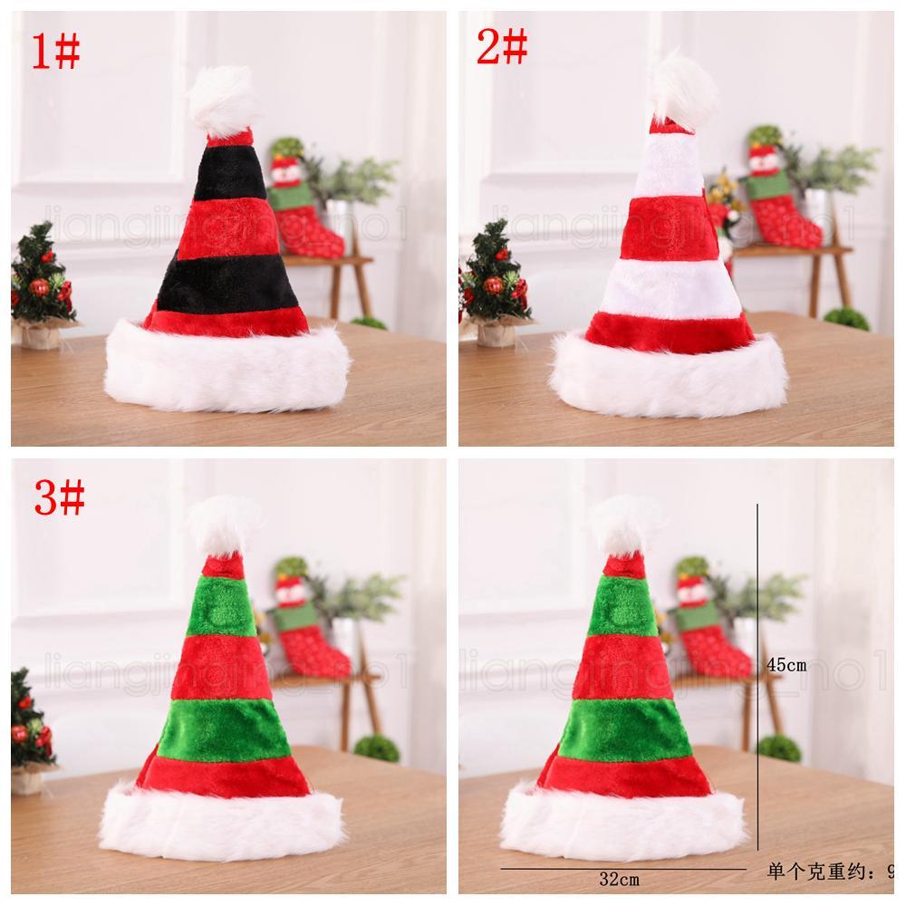 Decoração de Natal listrado 3styles Xmas Hat Detalhes no vermelho de Papai Noel Bolsa Festa de Natal chapéu de pelúcia Ornamentos crianças dom FFA2848-2