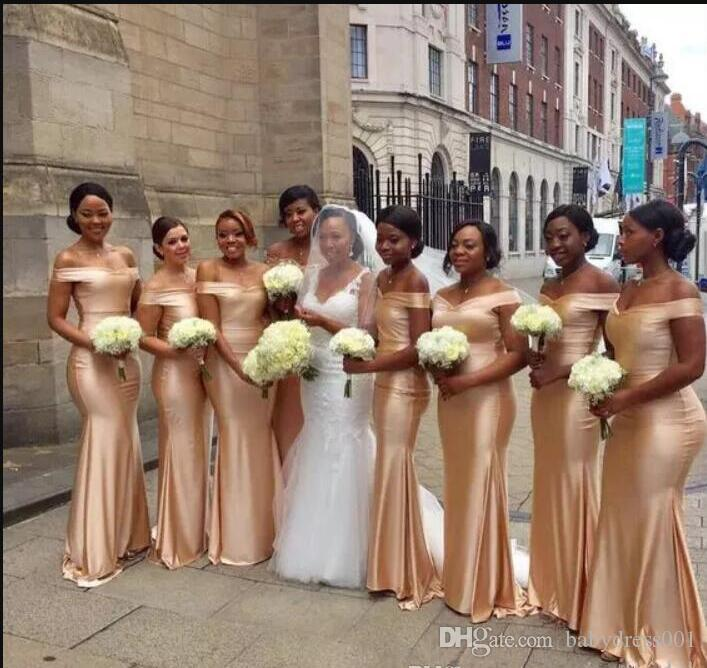2019 African Off The Shoulder Satin Mermaid Long Bridesmaid Dresses strapless Ruched Floor Length Wedding Guest Maid Of Honor Dresses