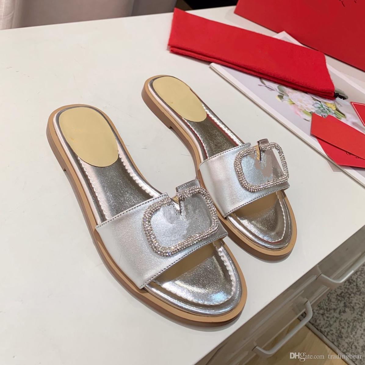2020 gerçek deri altın gümüş elmas taklidi slaytlar düz topuk tasarımcı sandalet lüks kadın moda ayakkabılar boyutu 35-41 tradingbear