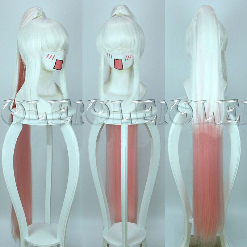 Tales of Zestiria Lailah Perruque Cosplay Ombre Rose Blanche 120cm + 1 Clip sur queue de cheval