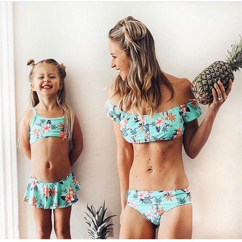 Family Matching Swimwear Floral Bikini Set Mom Daughter Swim Suit Women Bikini Girls Swimsuit Beachwear Mother Daughter Swimwear