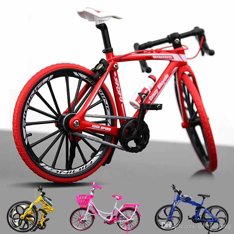 Diecast Model Bicycle Toy, Foldable Mountain Bike, Road Racing Bike, City Girl Light Pink Bike, Ornament, Xmas Kid Birthday Gift, Collecting