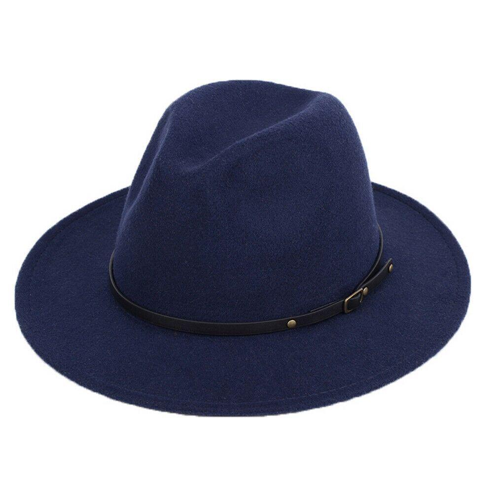 Homens feltro de lã Mulheres da Moda de Nova Outback Chapéu Panamá chapéu aba larga Belt Buckle Fedora chapéus de cowboy preto Laranja Cáqui Amarelo