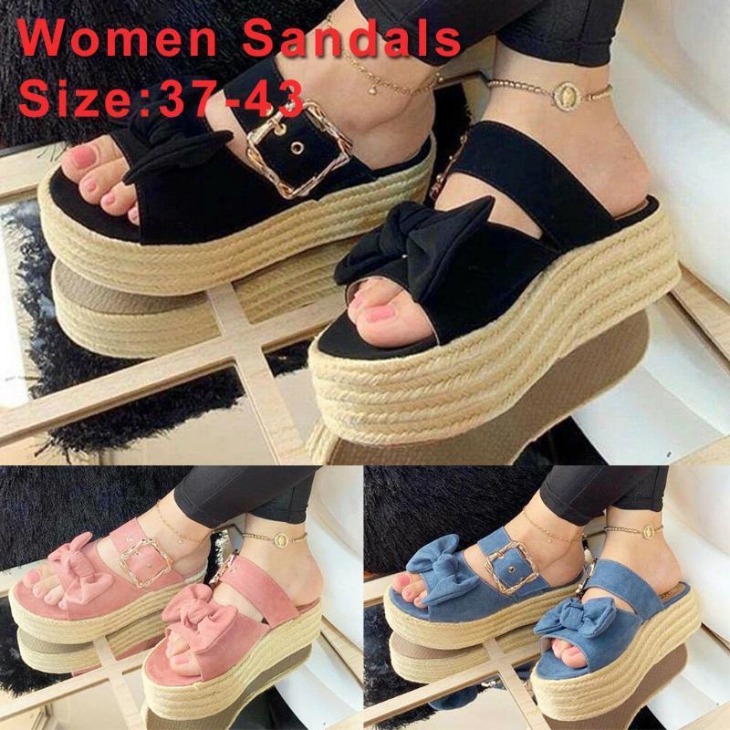 Zapatos de las mujeres del arco del verano plana zapatillas chanclas de playa al aire libre diapositivas Platfrom mujeres de las cuñas zapatillas Zapatos Casual Femenina 4.16