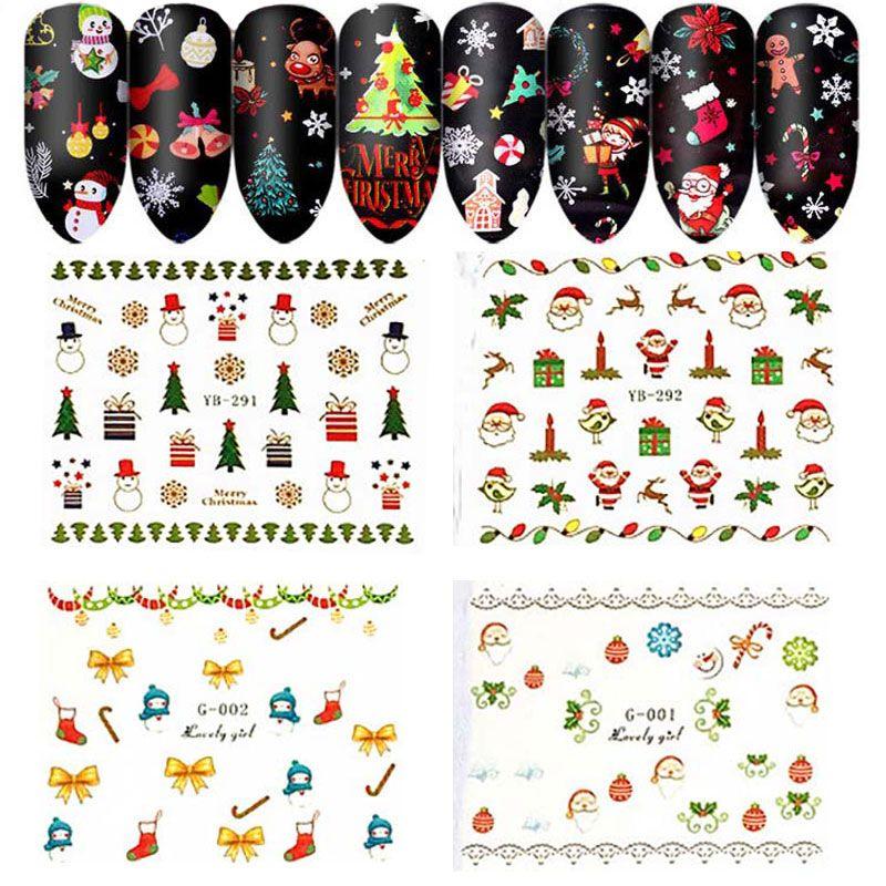 Bonito prego Lady Natal Decalques Adesivos Estrelas do Natal do Xmas Tree Papai Sino dedo beleza Wraps Estrela DIY Nails Art