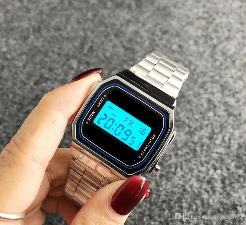 Retro Japonés Coreano Nuevo Reloj de Alarma al por mayor Reloj de Hombres y Mujeres Moda Hip Hop Cinturón de acero Reloj Hombres y Mujeres Cinturón de Acero Luminoso