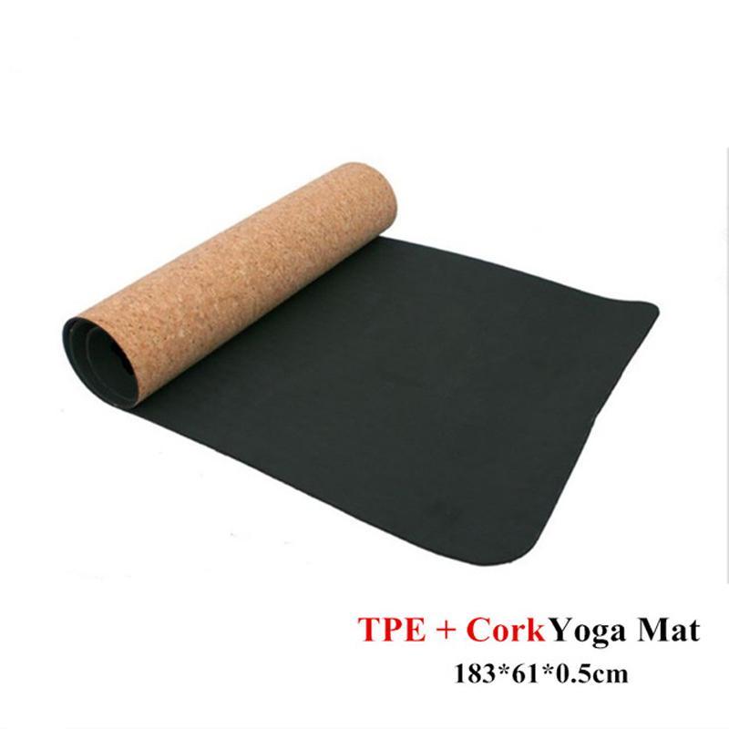 5MM 미끄럼 방지 TPE + 코르크 브랜드 요가 매트에 대한 적합성 천연 필라테스 체조 매트 스포츠 요가 운동 패드 마사지 새로운