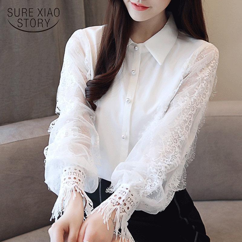 Mode Frauenoberseiten- und Blusen 2019 Langarm-Shirt Frauen-Chiffon- Blusen-Hemd-feste weiße Bluse OL weibliche Top Blusas 1145 40 T200429