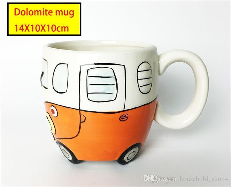 Керамическая чашка кемпера 300 мл винные кружки ручная роспись Керамический мультфильм автобус чашка воды классическая посуда 4 цвета