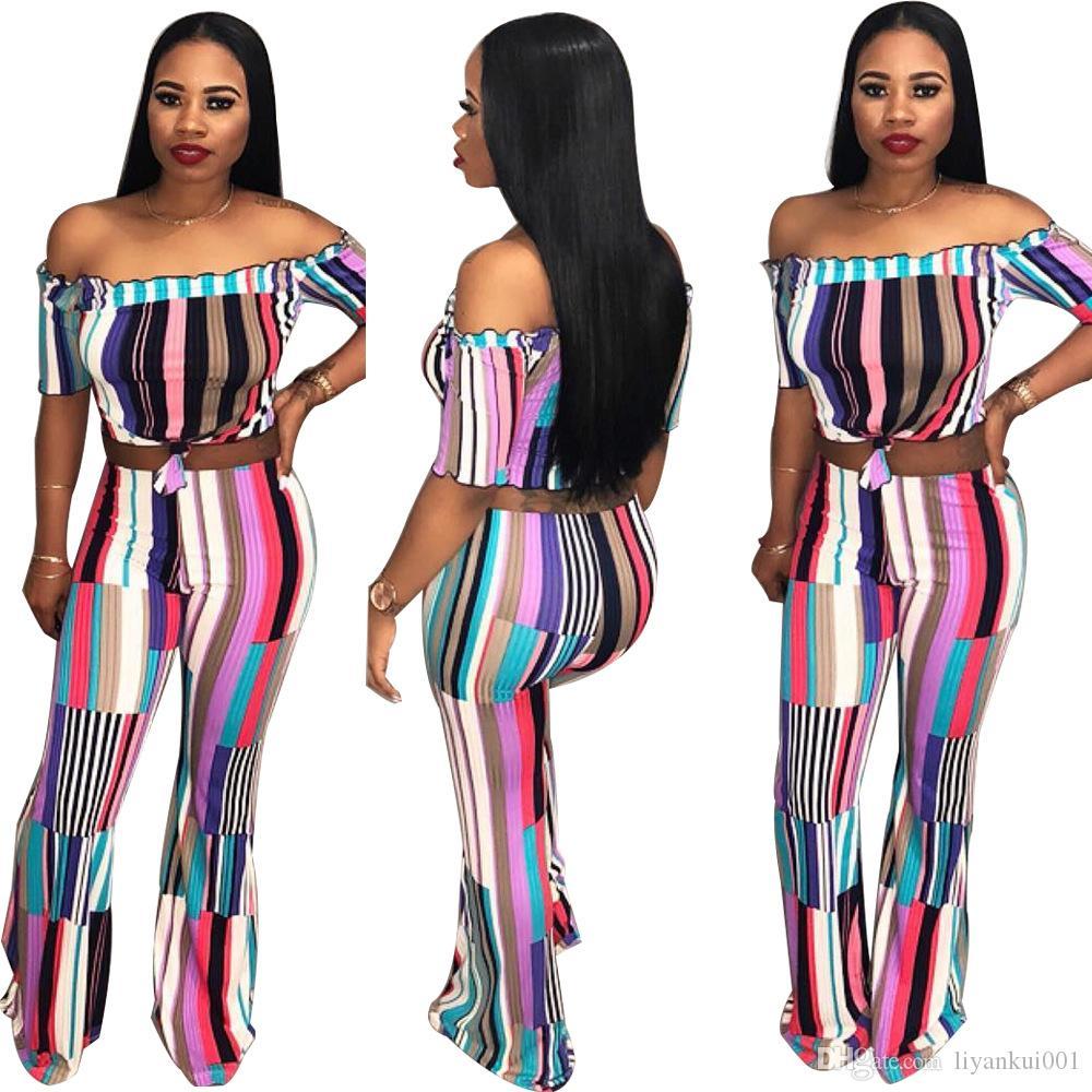 Women designer two piece set jogger suit stylish tracksuit sportswear striped Print slash shoulder t-shirt leggings pants plus size S-XL