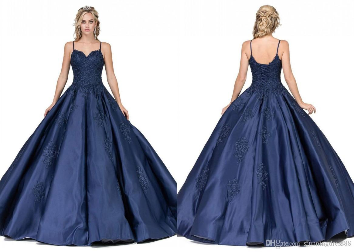 Simple Cheap Navy Blue Ball Gown Quinceanera Prom dresses with Spaghetti Straps Satin Open back Lace Evening Party Sweet 16 dress