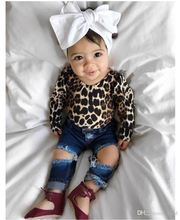 Bebê bebê meninas miúdos roupa conjuntos de impressão Primavera Outono New Leopard manga comprida O-Neck Tops e Blue Hole Jean Calças duas peças Sets