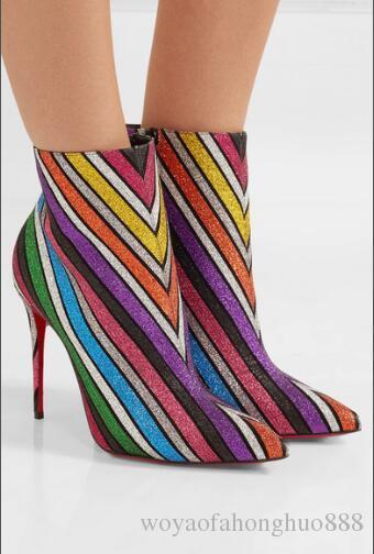 Nuovo stile Colore di alta qualità Nizza Stivali Femininas scarpe a punta Tacco alto stivaletti Femininas sexy 10cm 12cm stivali tacco alto