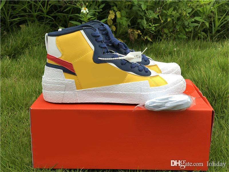 Hottest Sacai Blazer Mid University Blue Sail Varsity Red Maize Midnight Navy White Black Wolf Grey Basketball Shoes Men Trainers With Box