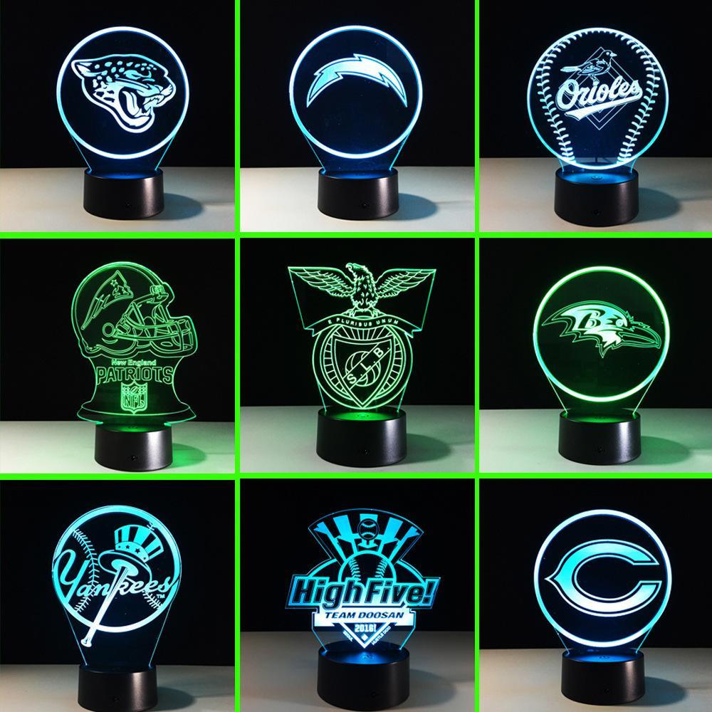 2018 новый шаблон регби идентификация второй грамм сила зрения лампы дистанционного управления сенсорный красочный 3d лампа трехмерная лампа красочные