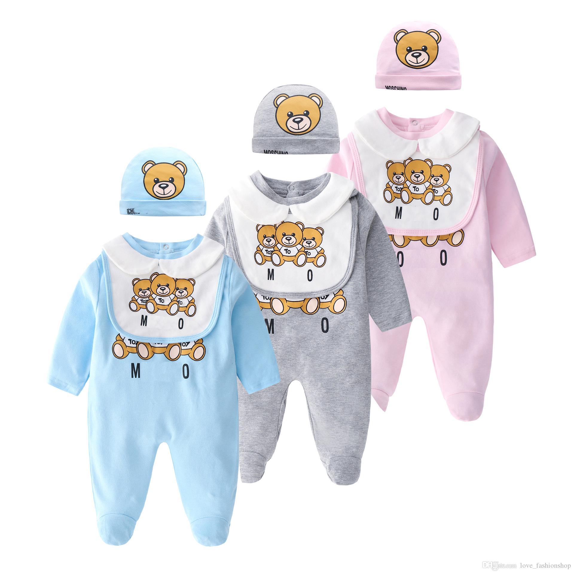 Varejo Recém-nascido Baby Onesies 2pcs Conjunto com Cap Algodão Bear Impresso Jumpsuit One-Peça Onesies Jumpsuits ToDdle Crianças Crianças Roupas