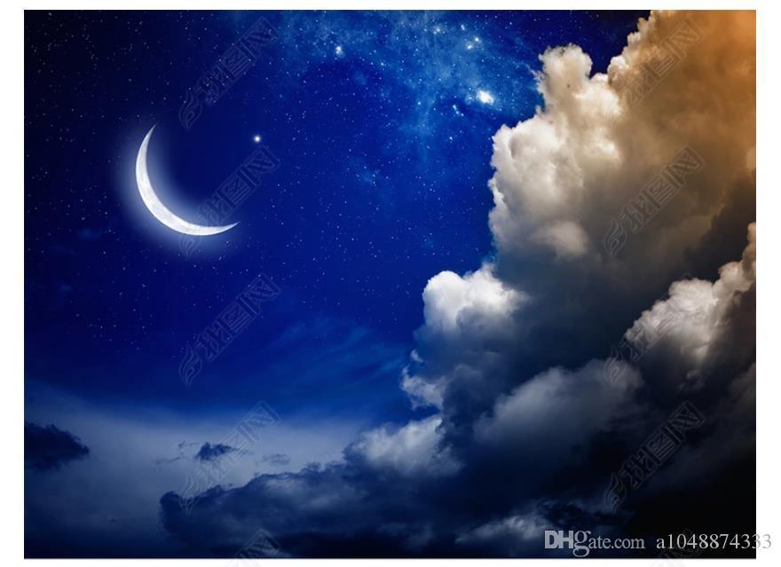 Kundengebundener Foto-Decken-Hintergrund-Wandgemälde HD des Zenith 3D Mondhimmel der Fantasie-Nachthimmel 3D zenith Deckenwandbildtapete für Wände 3d