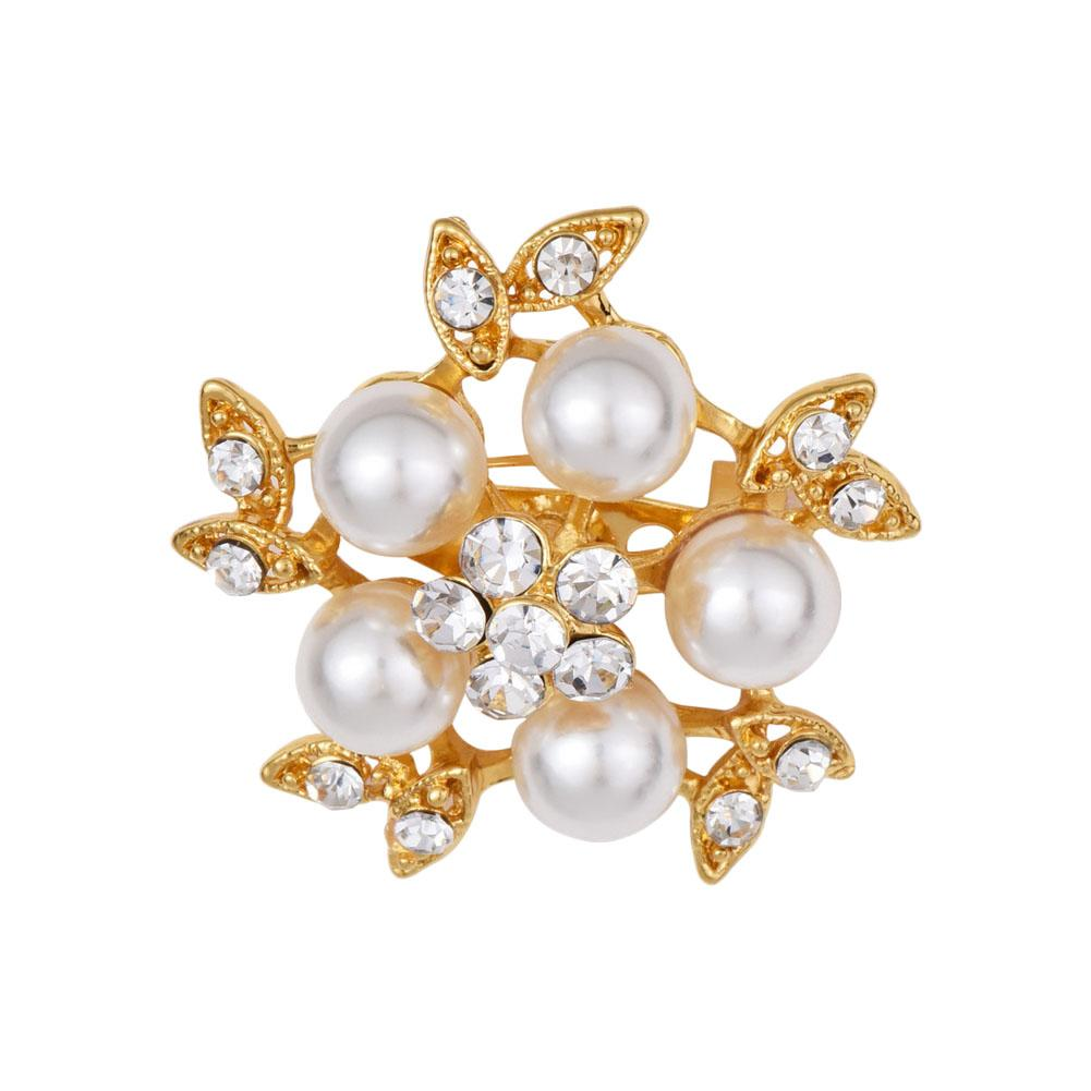 Gold-Color Simulated Pearl Flower Brooches Rhinestone Scarf Buckles Corsage Small Shawl Pins accessories free shipping 10pcs/lot
