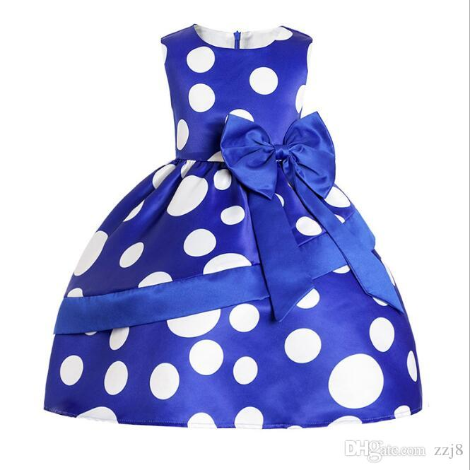 Blue Dot Dress for Kids New Arrival Party Dresses European American Spring Summer Baby Girls Clothing 3-9 Years old