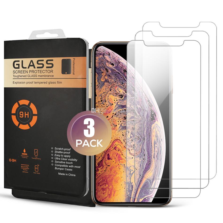 Displayschutzfolie 3er Pack Ausgeglichenes Glas für iPhone 11 PRO MAX XR XS MAX-Schutz-Film für iPhone 7 8 PLUS XS 11 PRO mit Kleinkasten