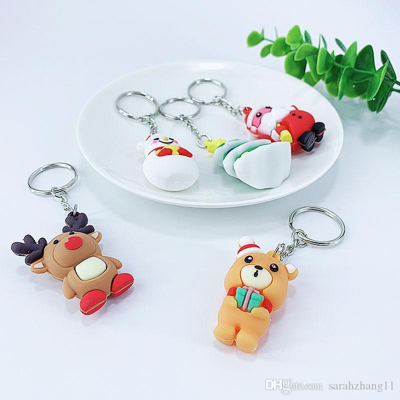 Araba Anahtarlık Çanta Tote Kolye için Yeni Yaratıcı PVC Noel Anahtarlık Hediye