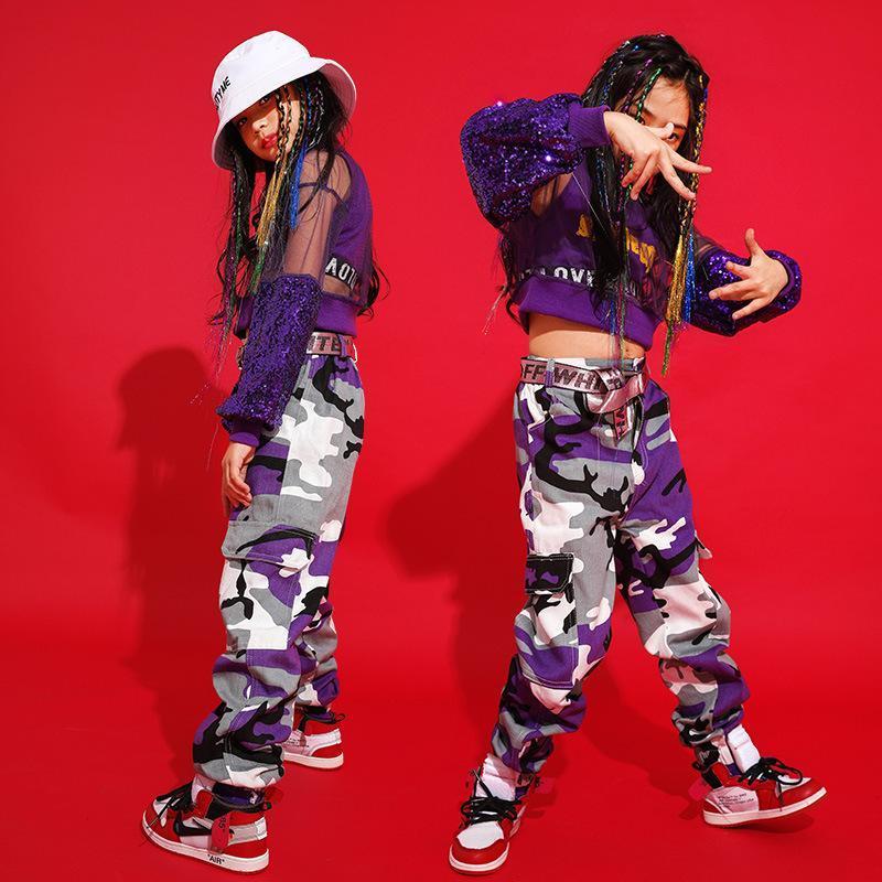 Блестки Дети Хип-хоп Танцевальная одежда для девочек Для мальчиков майка Топы Jogger Брюки Камуфляж брюки Джаз Бальные танцы костюмы