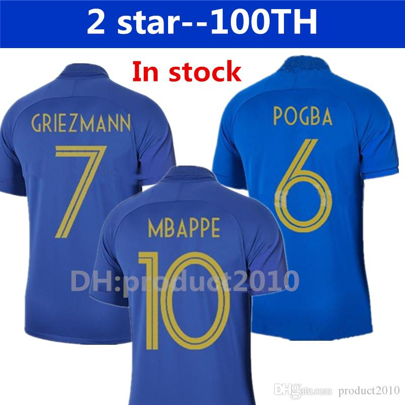 separation shoes 8cec1 e6940 2019 2019 France Soccer Jersey 100th Anniversary 100 Years Old French New  Jerseys 2018 World Cup Football Jersey Team Griezmann MBAPPE Shirt From ...
