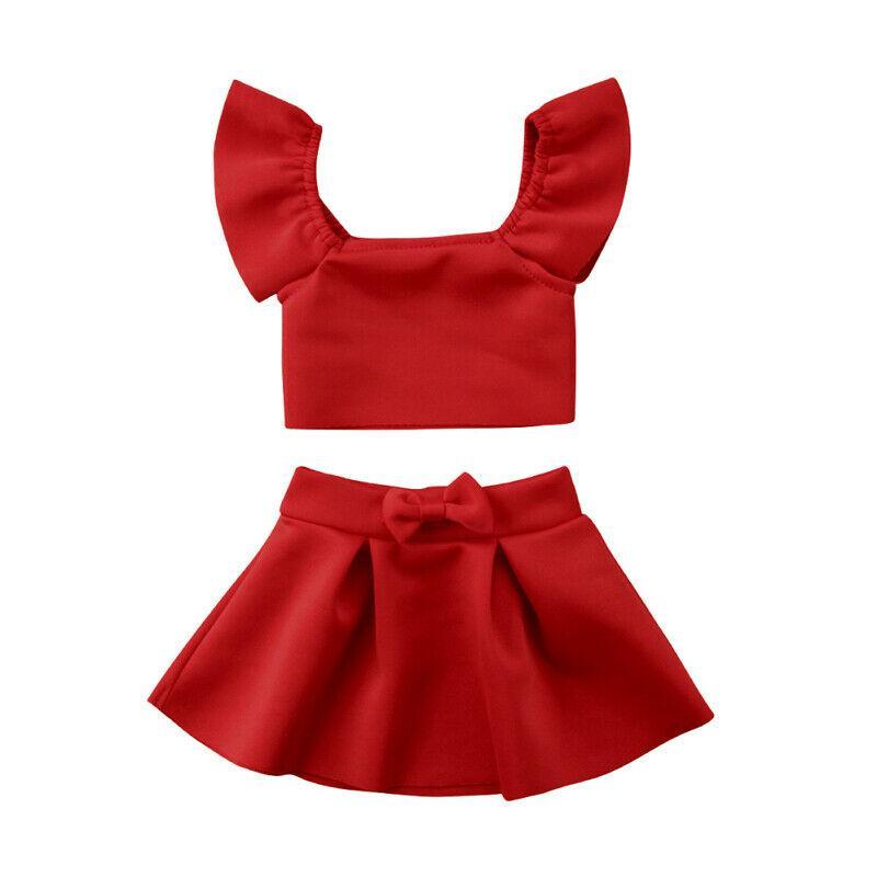0-4Y Red Crop spalle Tops Bow gonna della ragazza dei bambini di abbigliamento estivo Outfits 2 pezzi Newborn Kid neonate vestiti Set