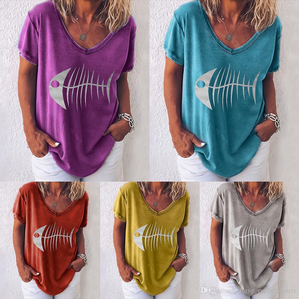 Vêtements Mode d'été Style Tshirt Style Femme Femme Concise Chemise Concise Concise Arrivée Cou Lâche Tops Tees Designer V T New Wome Xlip